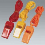 3 Plastic Whistles with Lanyards